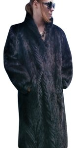 BLACK FOX FUR Real Size Medium Size Large Fur Coat