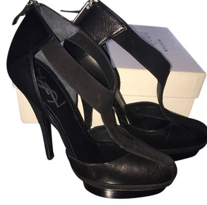 Saint Laurent Ysl Yves Leather Black Platforms