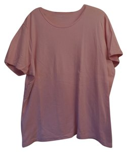 Talbots Cotton Plus-size Short Sleeves T Shirt Pink