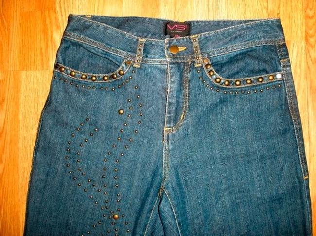 VS VAKKO Size 4 Embellished Lowrise Cute Copper Studs Straight Leg Jeans-Medium Wash