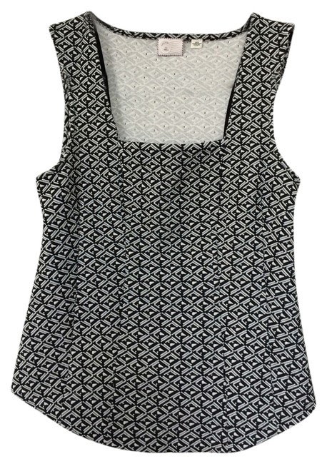 Anthropologie And Textured Sleeveless Square Neckline Darting Top Black White Tribal Aztec Print