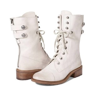 Sam Edelman Combat Leather White Ivory Boots