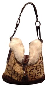 Coach Fur Lined Suede Shearling Hobo Bag