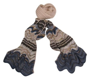 Missoni Missoni Dusty Pink Scarf With Blue Waves