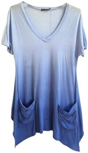 Ella Moss Ombre Resort Beach Cover Up Tunic T Shirt Blue