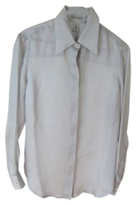 Anne Klein Natural Silk Tailored Mother Of Pearl Classic Button Down Shirt silver grey
