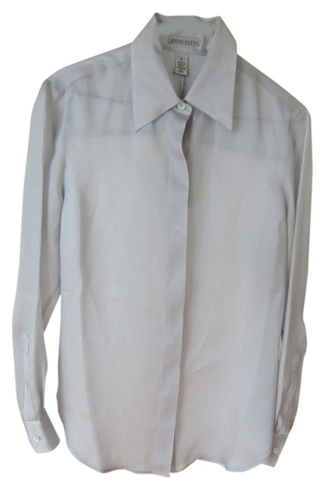 bb899b96 Anne Klein Natural Silk Tailored Mother Of Pearl Classic Button Down Shirt  silver grey Image 0 ...