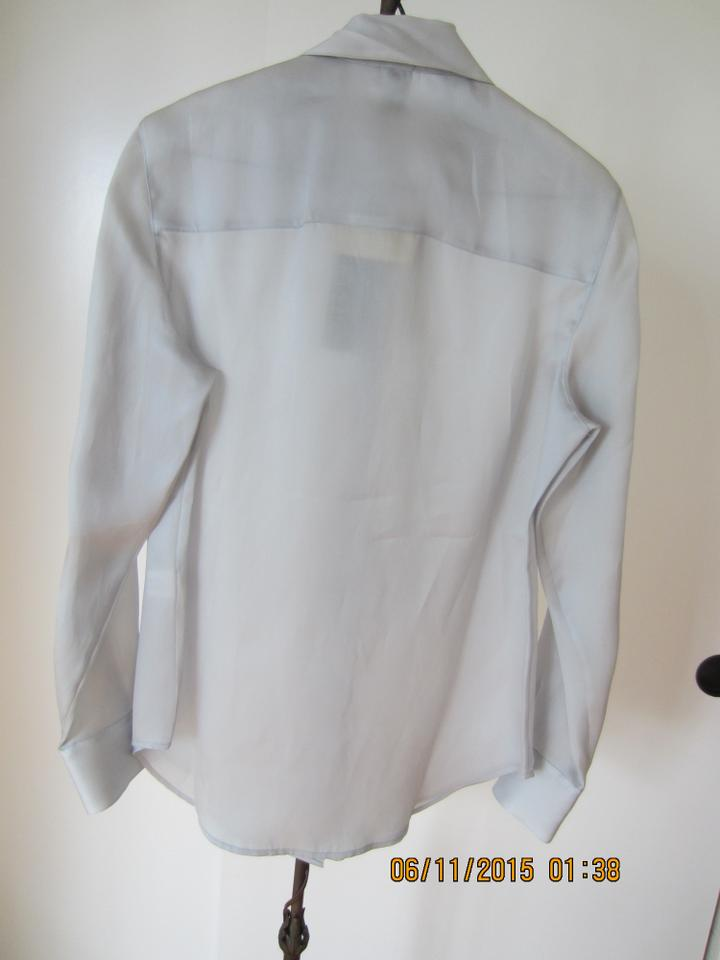 47a52598dbe771 Anne Klein Natural Silk Tailored Mother Of Pearl Classic Button Down Shirt  silver grey Image 4. 12345