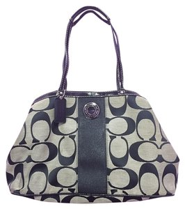 Coach Satchel in Gray and Black