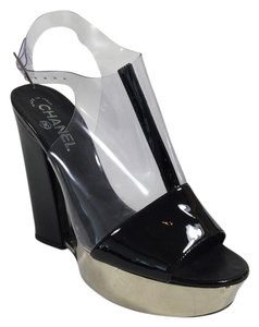 Chanel Patent Wedge Vinyl Black Platforms
