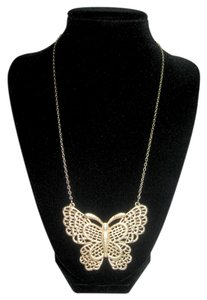 Large Gold Butterfly Pendant Necklace