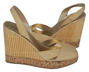 Prada Cork Wedge Beige Patent Leather nude Platforms