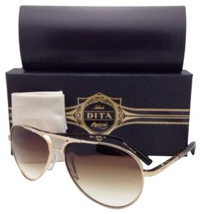 Dita Eyewear New DITA Sunglasses AMBASSADOR DRX-2005D-61 12K Gold Plated Aviator w/Brown Gradient Lenses