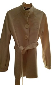 Tahari Large Buttons Stand Up Collar Belted Cream Jacket