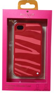 Kate Spade Kate Spade Pink and Red Zebra Stripe Silicone Case Cover iPhone 4/4S