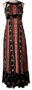 Red & Black Maxi Dress by Free People Halter Laced-back Maxi