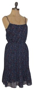 Anthropologie short dress BLUE Floral Braided Straps Pleated on Tradesy