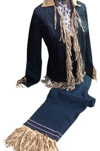TAIGA FRINGE DENIM PANTSET SIZE 16/L Capri/Cropped Denim-Medium Wash