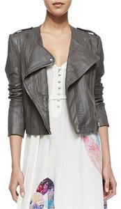Twelfth St. by Cynthia Vincent Leather Moto Embossed Asymmetric Leather Jacket