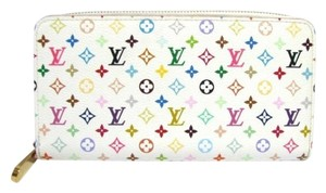 Louis Vuitton Authentic Louis Vuitton Multicolore Monogram White Zippy Long Wallet with Orange Interior