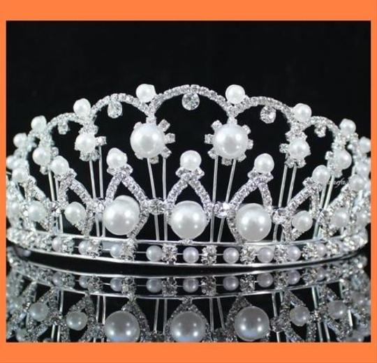 Pearl and Crystal Cathedral Tiara Hair Accessory