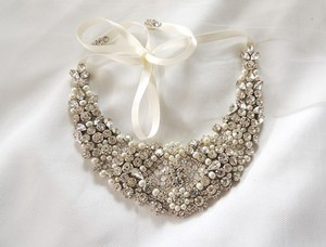 Other Wedding Bridal Beaded Bib Necklace Ribbon Closure