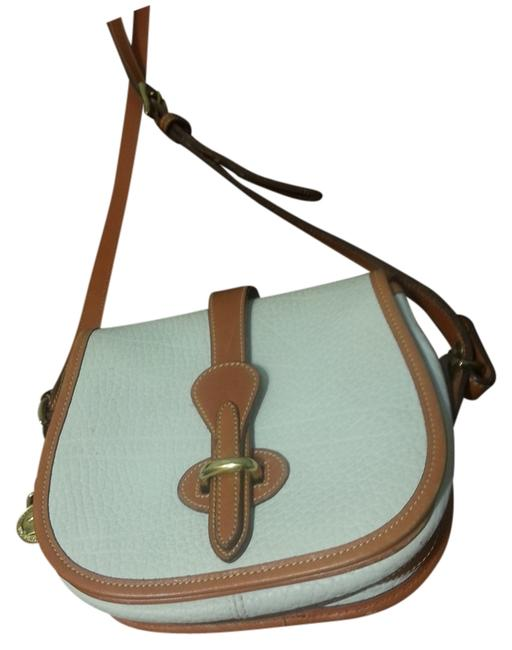 Item - Vintage Pebbled All Solid Brass Hardware Ivory/Tan Leather Cross Body Bag