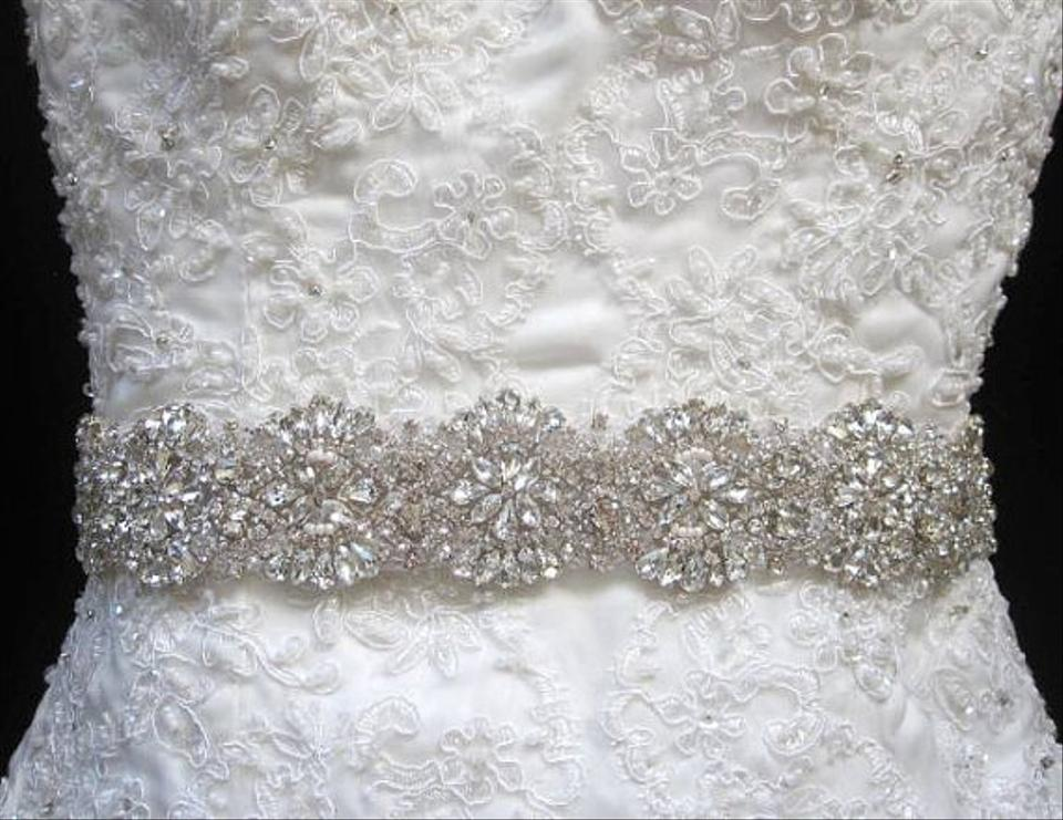 Belt Crystal Beaded Satin Ribbon With And Rhinestone Lique Sash Tradesy