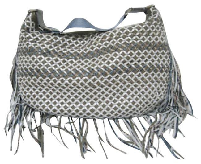 Item - Gray Blue Silver Taupe Leather Hobo Bag