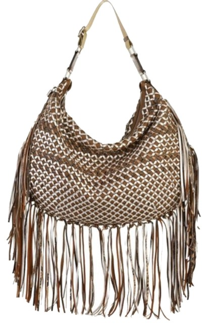 Item - Brown Taupe Silver Leather Hobo Bag