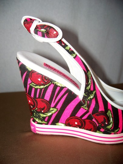 Betsey Johnson Pink, White, Green Sandals