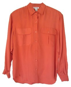 Ann Taylor Silk Tailored Great For Work Button Down Shirt Coral