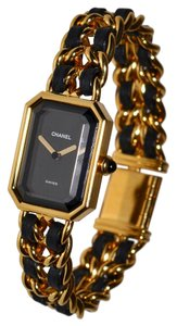 Chanel Paris Premiere Watch 18K Gold Plated Chain Link Wristwatch with Lambskin Leather Details and Onyx Cabochon Crown Size Large L Swiss Made