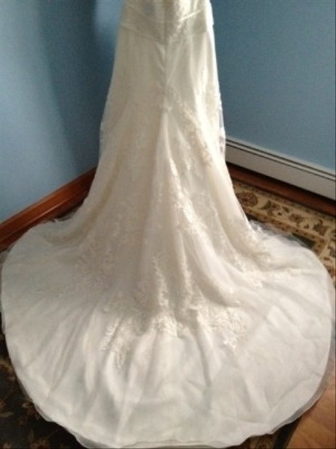 Priscilla of Boston Ivory Organza Elaine From The Vineyard Collection Gown and Matching Cathedral Veil... Feminine Wedding Dress Size 8 (M) Priscilla of Boston Ivory Organza Elaine From The Vineyard Collection Gown and Matching Cathedral Veil... Feminine Wedding Dress Size 8 (M) Image 1
