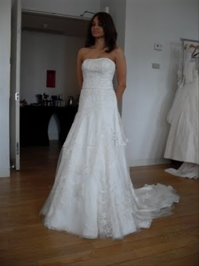 Priscilla of Boston Ivory Organza Elaine From The Vineyard Collection Gown and Matching Cathedral Veil... Feminine Wedding Dress Size 8 (M) Image 1