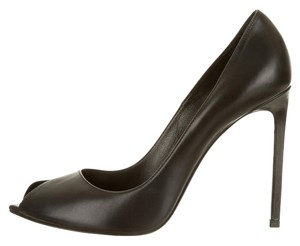 Saint Laurent Paris Leather Open Toe Black Pumps