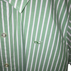 Vineyard Vines Cotton Classic Preppy Button Down Shirt Green and White Stripe