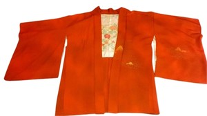 Japanese Haori Handmade Vintage burnt orange, pastels Jacket