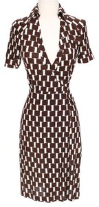 Brown & White Maxi Dress by Diane von Furstenberg Silk Tie
