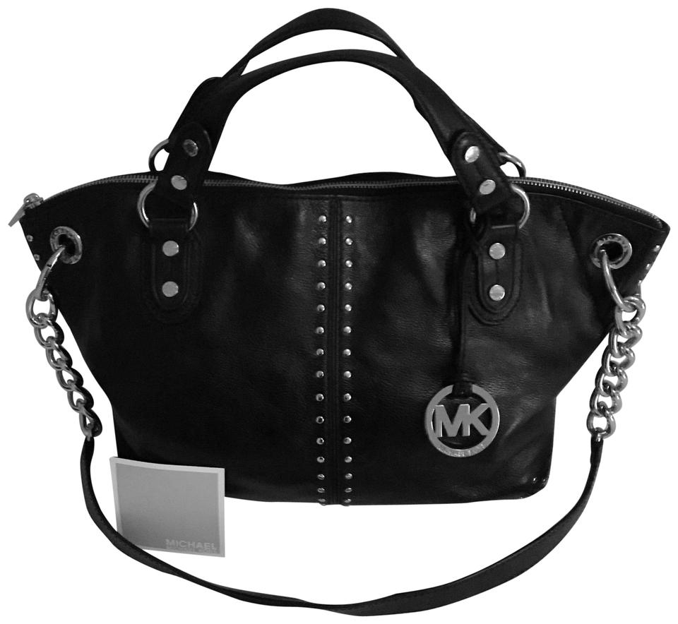 cdc741f848d188 Michael Kors W/Silver Astor Chain Tote Black with Silver Hardware ...