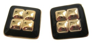 Nina Ricci Vintage Black Enamel and Gold Plated Puffed Square Clip Earrings