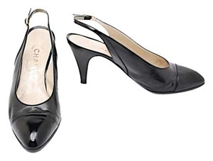 Chanel Slingback Cap Toe Black Pumps