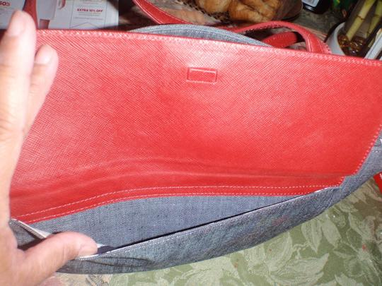 Ann Taylor Shoulder Handbad Purse Tote in Blue/Red