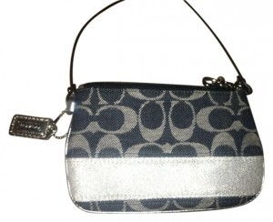 Coach Wristlet in Blue and silver