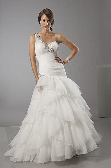 Alfred Sung Ivory Tulle 6880 Modern Wedding Dress Size 12 (L)