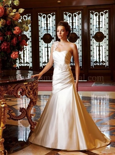 Jasmine Couture Bridal Ivory Satin Fit and Flare Traditional Wedding Dress Size 10 (M)