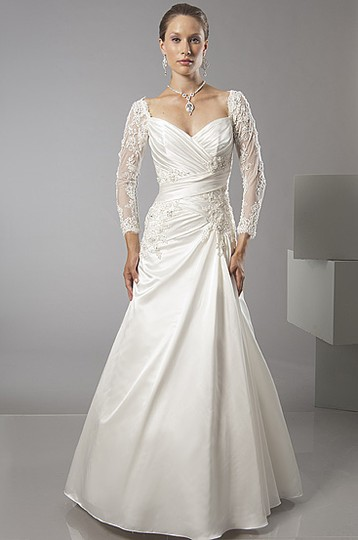 Alfred Sung Ivory Satin 6871 Traditional Wedding Dress Size 10 (M)