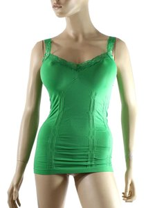 Cami CAMISOLE Lace Strap Tank Tops Solid Color One Size Green