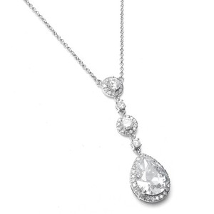 Silver/Rhodium Crystal Pendant Necklace