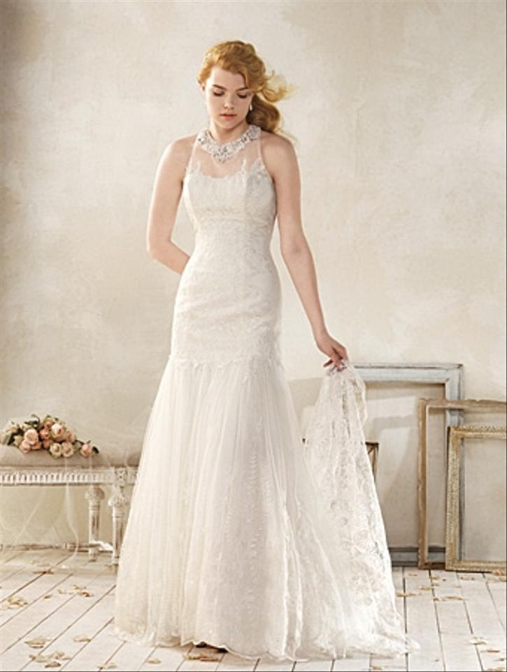 Alfred Angelo Ivory All Over Lace With Soft Net Modern 8515 Vintage Wedding Dress Size 14